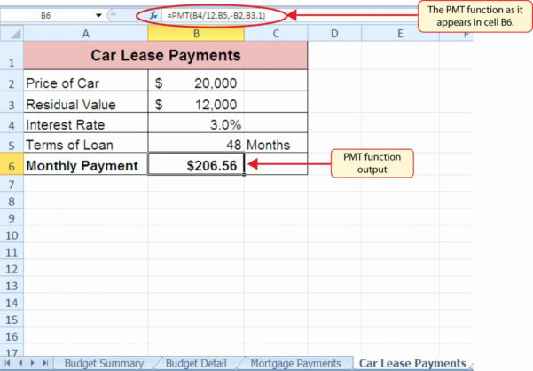 Lease Calculator Excel Spreadsheet Throughout Car Lease Spreadsheet Calculator Equipment Excel Commercial