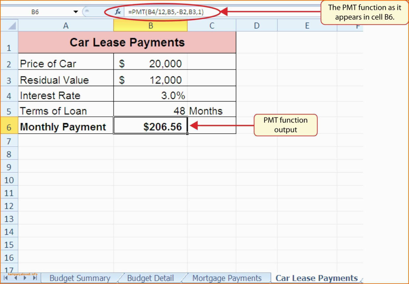 Lease Calculator Spreadsheet In Car Loan Calculator Excel Spreadsheet An Excel Spreadsheet That
