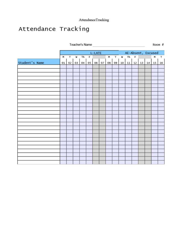 Leave Of Absence Tracking Spreadsheet In 40  Free Attendance Tracker Templates [Employee, Student, Meeting]
