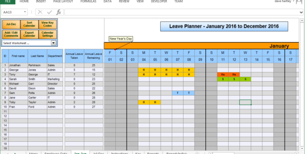 Leave Tracking Spreadsheet In Vacation Tracking Spreadsheet Template
