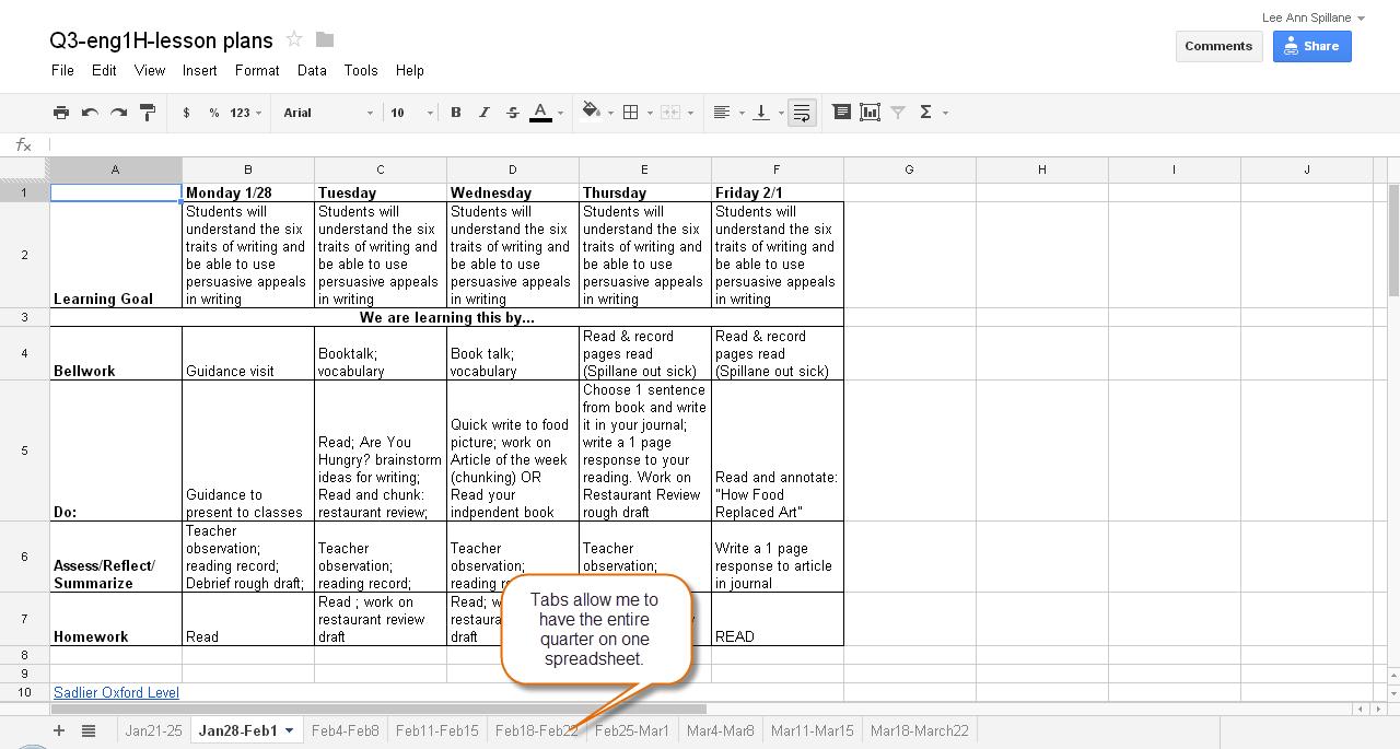 Lesson Plan Template Excel Spreadsheet Inside Excel Lesson Plan For Spreadsheet Block Template Google Docs