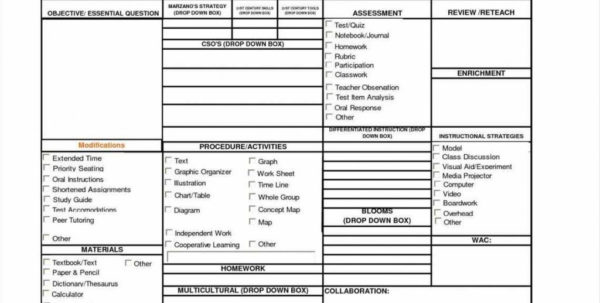 Lesson Plan Template Excel Spreadsheet Pertaining To Excel Lesson Plans For Middle Free Editable Weekly Plan Template