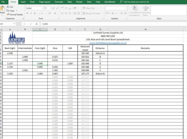 Levelling Spreadsheet Surveying With Download Rise And Fall Survey Level Book. Lichfield Survey Supplies