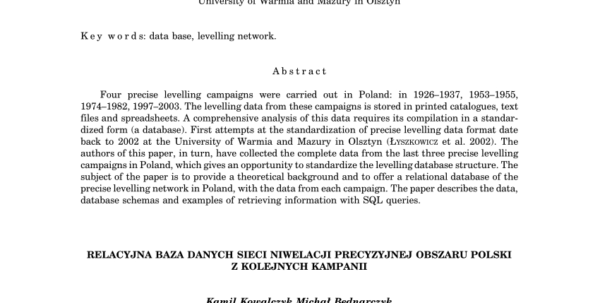 Levelling Spreadsheet Surveying With Pdf Relational Database Of Three Precise Levelling Campaigns In Poland