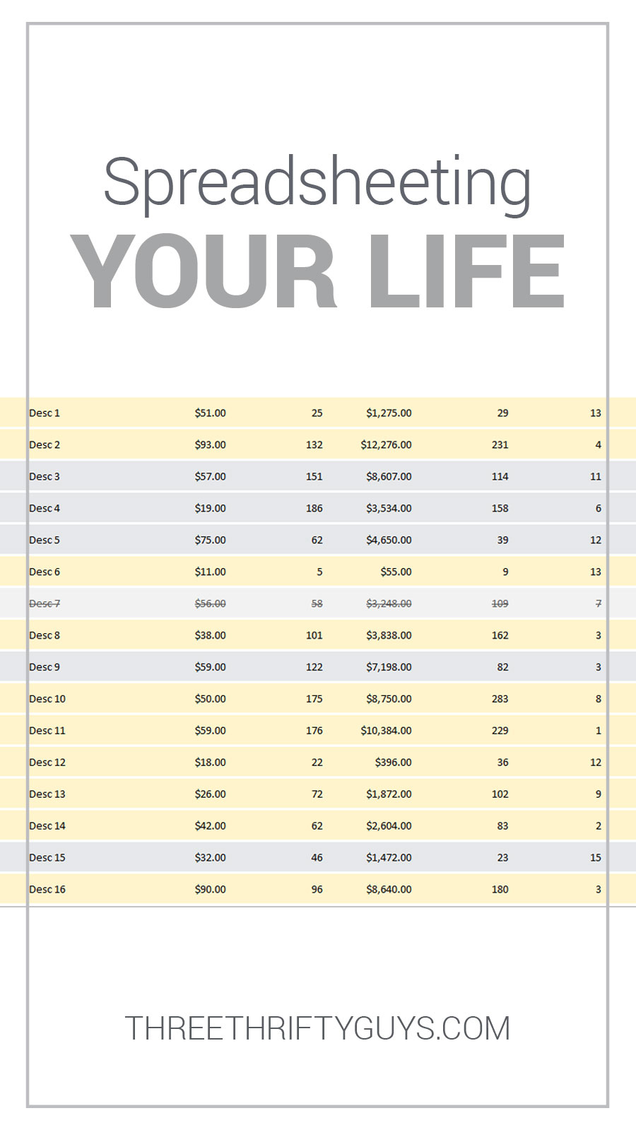 Life Spreadsheet For Spreadsheeting Your Entire Life  Debt  Three Thrifty Guys