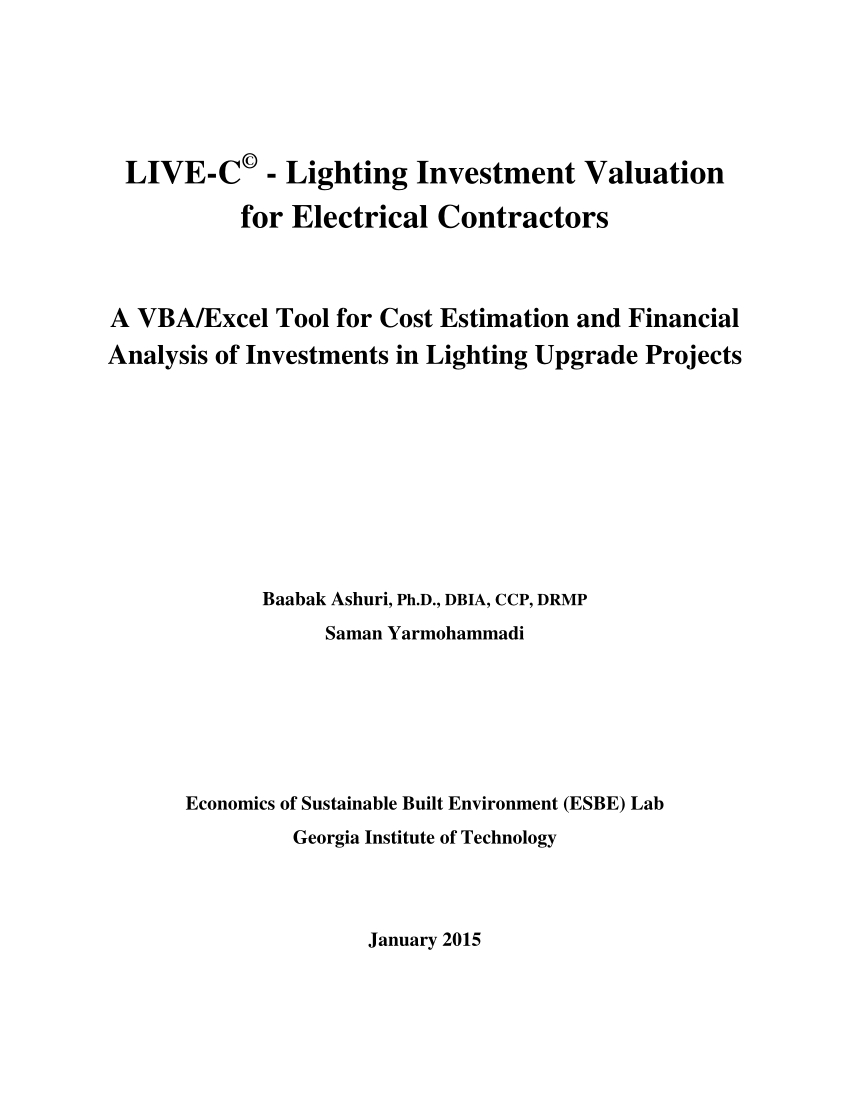 Lighting Retrofit Calculator Spreadsheet Within Pdf Livec©  Lighting Investment Valuation For Electrical