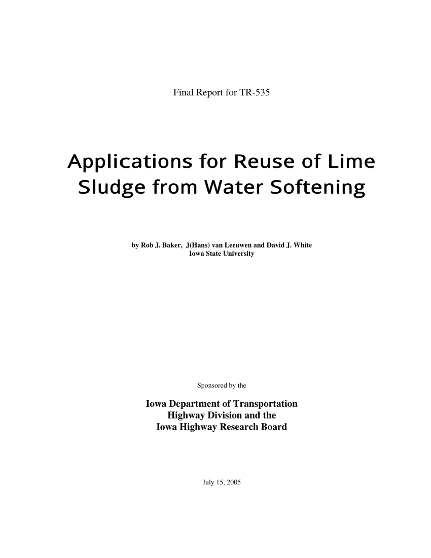 Lime Softening Calculation Spreadsheet In Pdf Applications For Reuse Of Lime Sludge From Water Softening