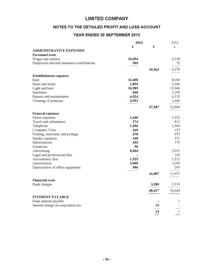 Limited Company Accounts Spreadsheet Pertaining To Product Detail