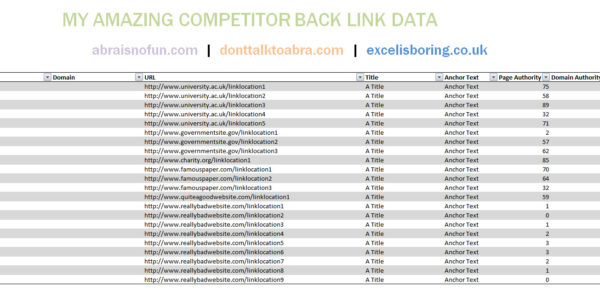 Linking Excel Spreadsheets In Link Building Tips  Using Excel For Link Building