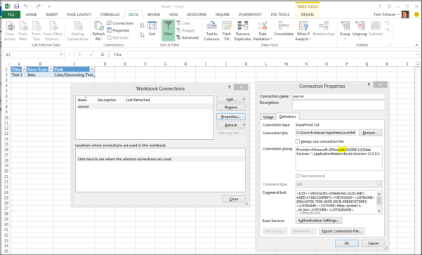 Linking Excel Spreadsheets In Sharepoint 2013 Throughout Excel Services – Using A Sharepoint List As A Data Source – Excel
