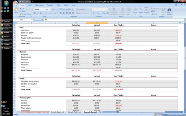 Lists And Spreadsheets Calculator With 132938 1 Spreadsheet Example Of Wedding Budget Calculator Guest List