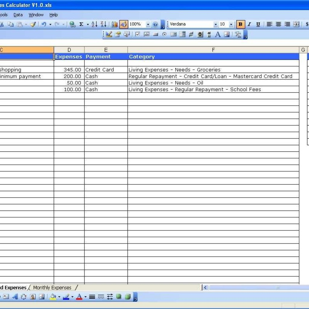Living Expenses Spreadsheet Throughout Monthly Business Budget Excel Spreadsheet Template With Expenses