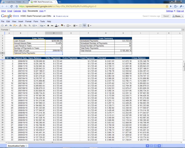 Loan Amortization Schedule Spreadsheet For Amortization Schedule Excel Free Calculator India Loan Mortgage