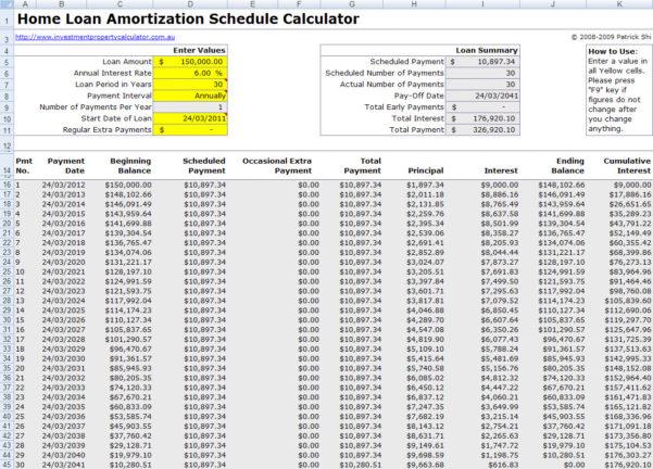 Loan Amortization Schedule Spreadsheet Inside Free Mortgage Home Loan Amortization Calculator