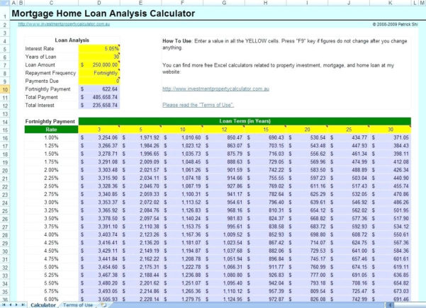 Loan Calculator Excel Spreadsheet For Mortgage Calculator Free  My Mortgage Home Loan