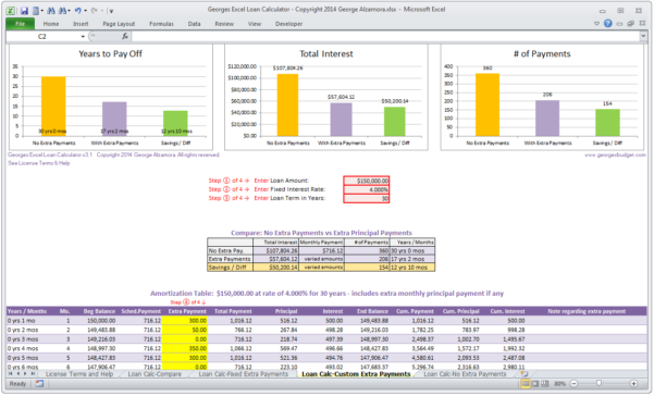 Loan Calculator Spreadsheet Throughout Mortgage Loan Calculator  Amortization Table Extra Payments  Excel