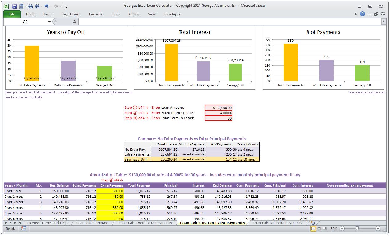Loan Payment Calculator Spreadsheet Intended For Mortgage Loan Calculator In Excel  My Mortgage Home Loan