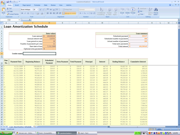 Loan Payment Spreadsheet Intended For Mortgage Payment Table Spreadsheet Loan Amortization Schedule Excel
