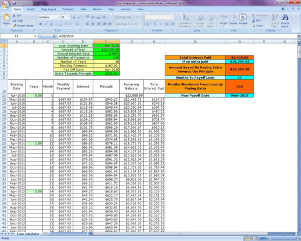 Loan Spreadsheet Throughout Loan Calculator  Us Collect A Coin