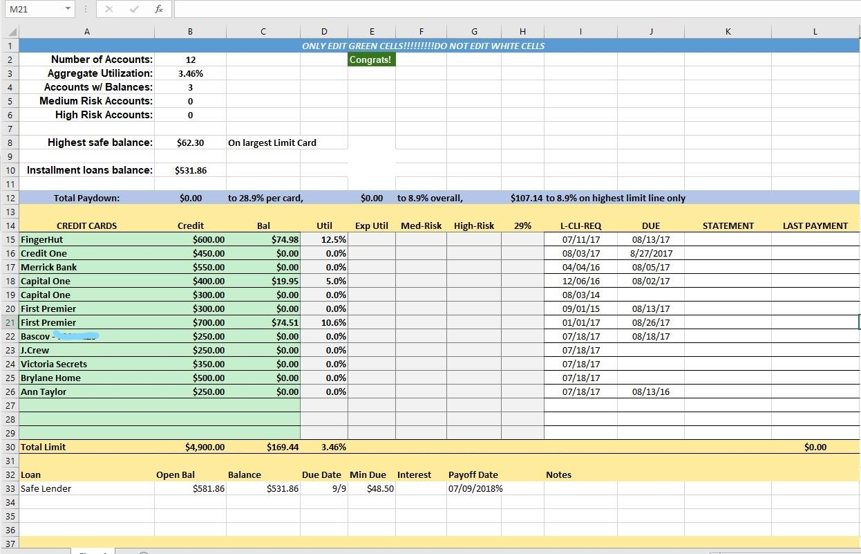 Lot Number Tracking Spreadsheet Intended For Credit Card Utilization Tracking Spreadsheet  Credit Warriors