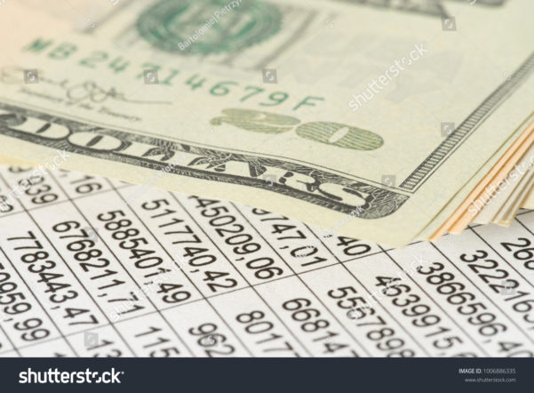 Lottery Analysis Spreadsheet In Spreadsheet Dollar Bills Stock Photo Edit Now 1006886335