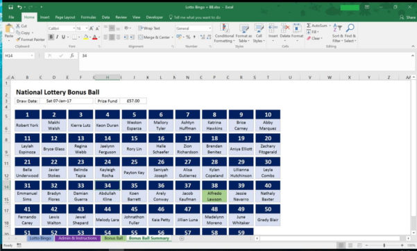 Lottery Syndicate Spreadsheet Within Uk National Lottery, Lotto Bingo And Bonus Ball Syndicate For Work