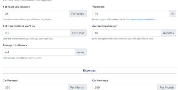 Lyft Driver Excel Spreadsheet Pertaining To Uber And Lyft Driver Earnings Calculator: How Much Can You Make?