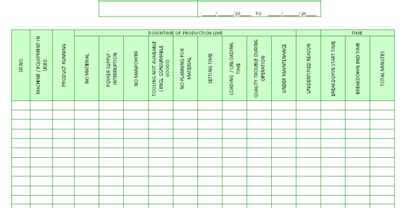 Machine Downtime Tracking Spreadsheet Inside Production Downtime Record Sheet