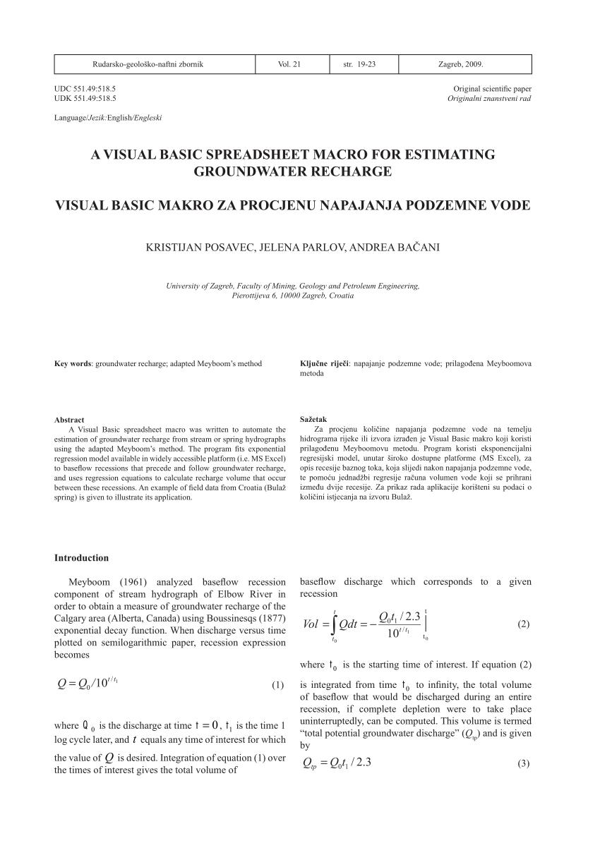 Macro Spreadsheet Pertaining To Pdf A Visual Basic Spreadsheet Macro For Estimating Groundwater