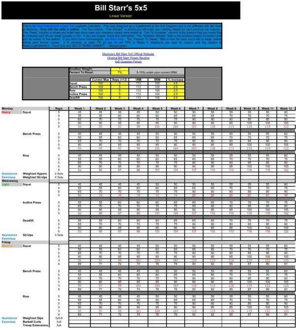 Madcow Spreadsheet In Madcow 5X5 Spreadsheet Excel Workout Routine  Pywrapper