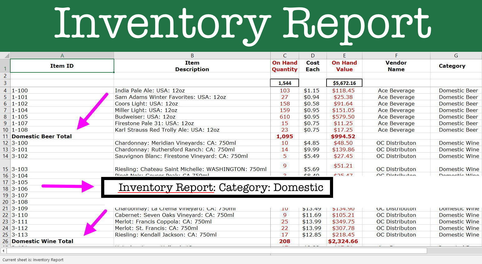 Magic Spreadsheet Inside Reports: Inventory Control Spreadsheet  Inventory Magic Excel