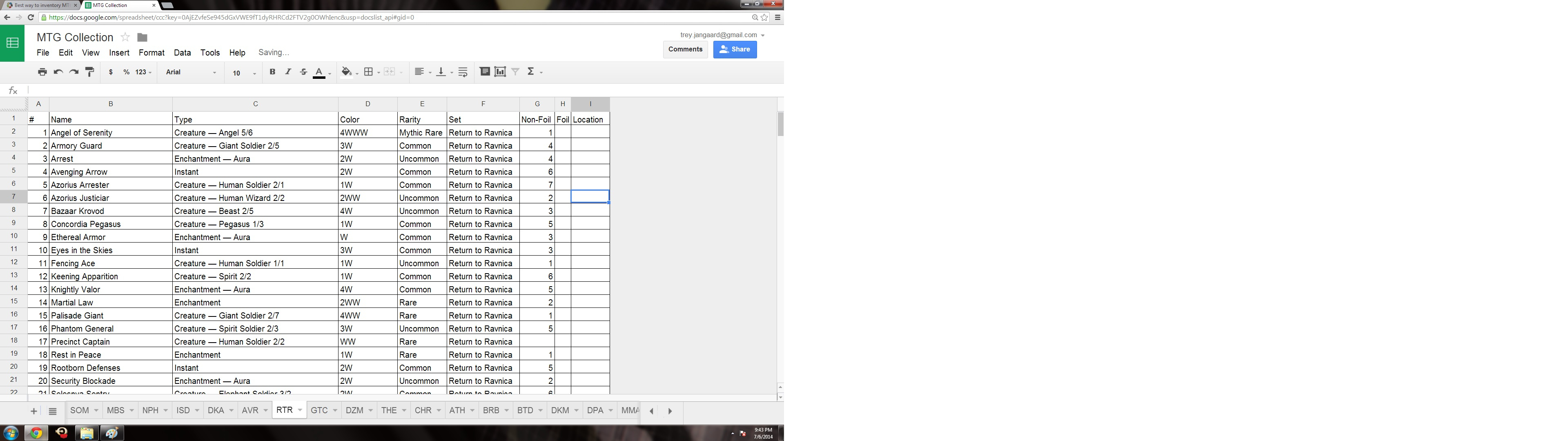 Magic The Gathering Spreadsheet Inside Best Way To Inventory Mtg Cards On A Computer And Sync Them With An