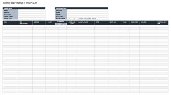 Maintenance Inventory Spreadsheet Throughout Free Excel Inventory Templates