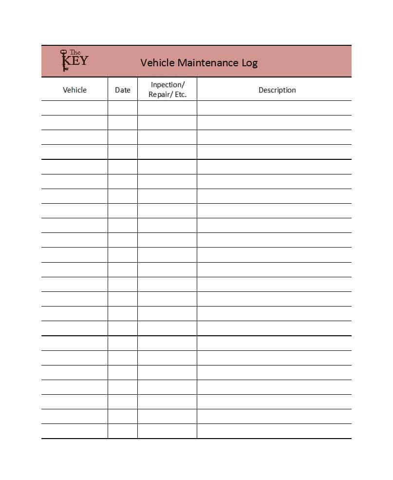 Maintenance Log Spreadsheet Regarding 40 Printable Vehicle Maintenance Log Templates  Template Lab