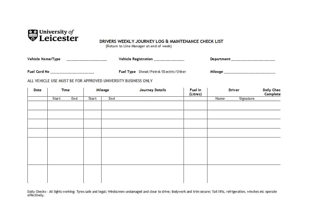 Maintenance Spreadsheet Template With 40 Printable Vehicle Maintenance Log Templates  Template Lab