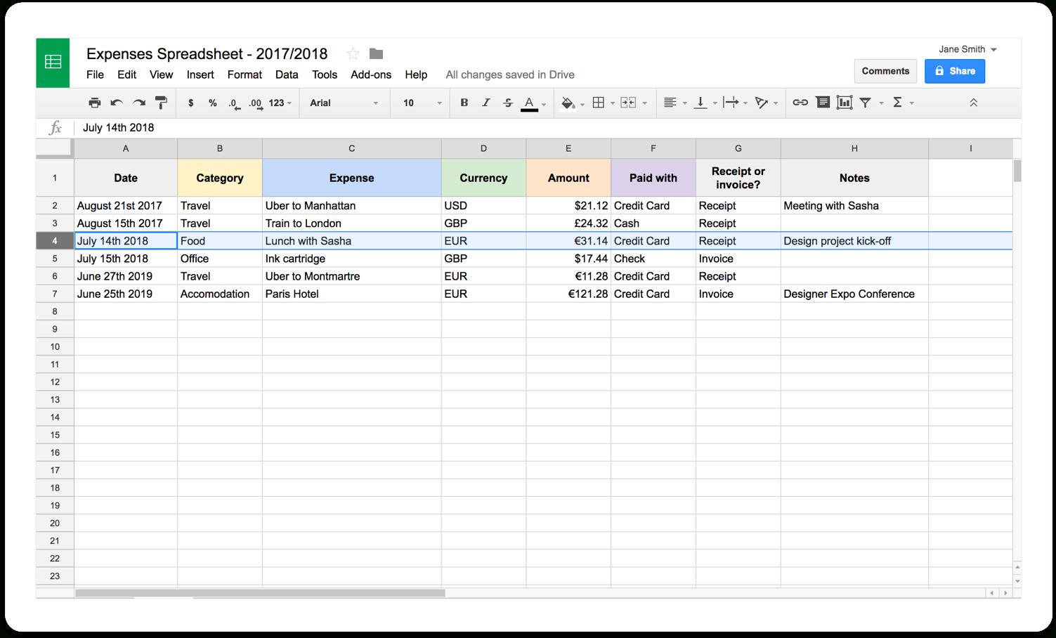 Making A Spreadsheet For Bills For Selfemployed Expenses Spreadsheet