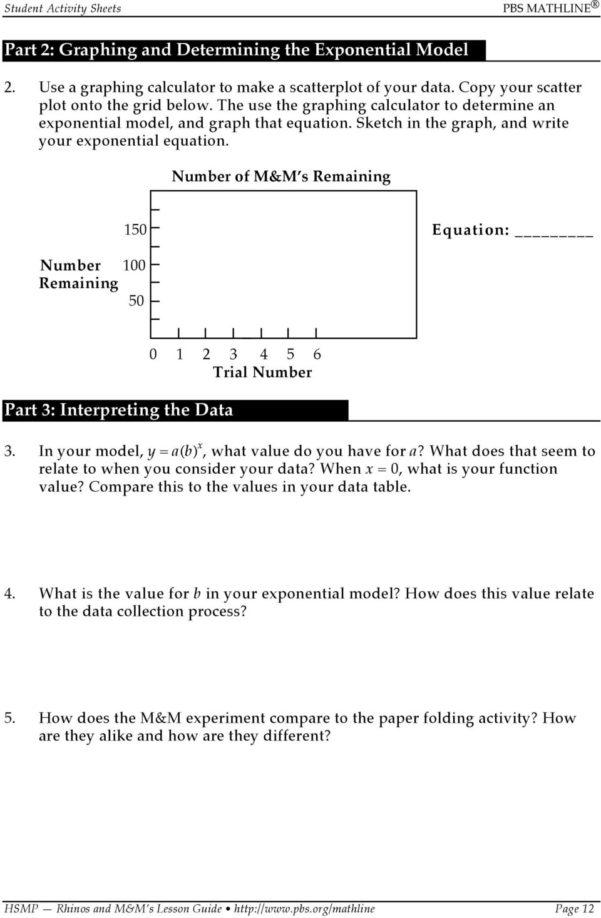M&m Spreadsheet Activity Inside The High School Math Project Focus On Algebra. Rhinos And Mm S