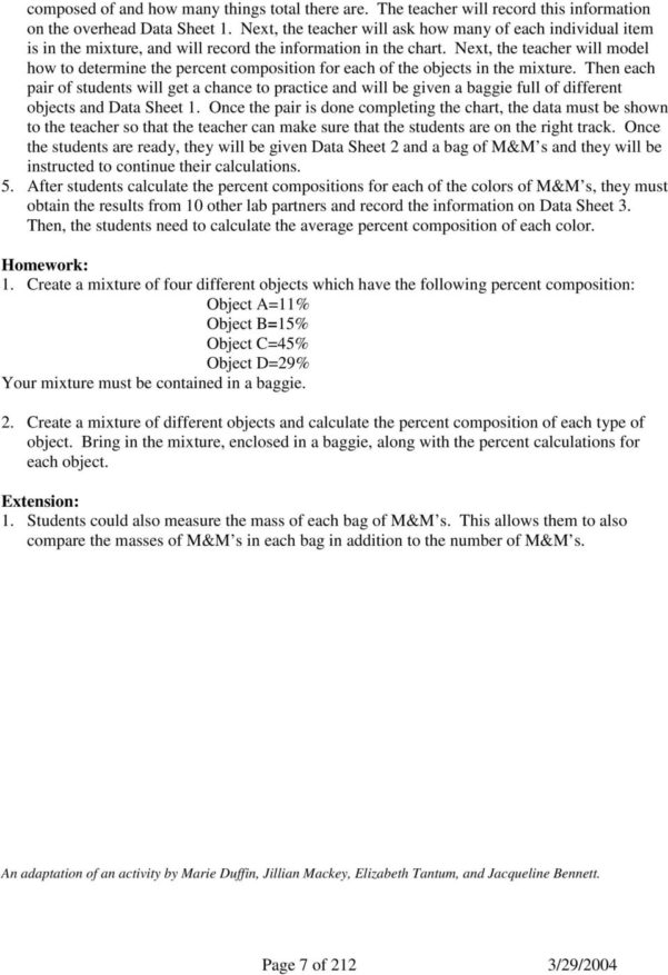 M&m Spreadsheet Activity Intended For Mm Science And Math  Pdf