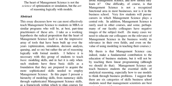 Management Science The Art Of Modeling With Spreadsheets Pdf Download With Pdf Teaching Business Modeling Using Spreadsheets