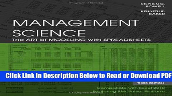 Management Science The Art Of Modeling With Spreadsheets Pdf Download With Regard To Pdf] Management Science: The Art Of Modeling With Spreadsheets