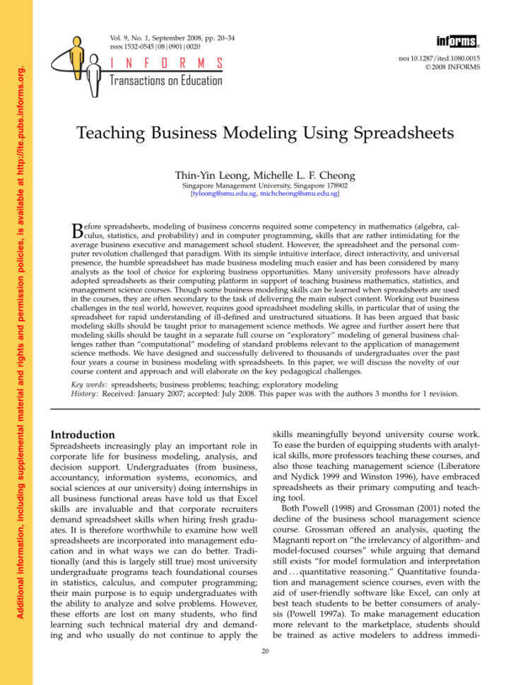 Management Science The Art Of Modeling With Spreadsheets Pdf Download Within Pdf Teaching Business Modeling Using Spreadsheets
