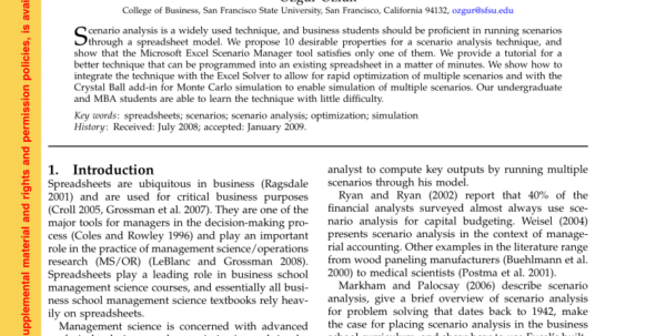 Management Science The Art Of Modeling With Spreadsheets Pdf Intended For Pdf A Spreadsheet Scenario Analysis Technique That Integrates With
