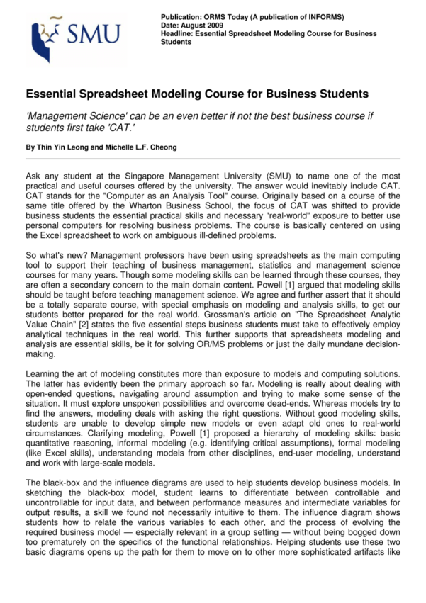 Management Science The Art Of Modeling With Spreadsheets Pdf Regarding Pdf Essential Spreadsheet Modeling Course For Business Students