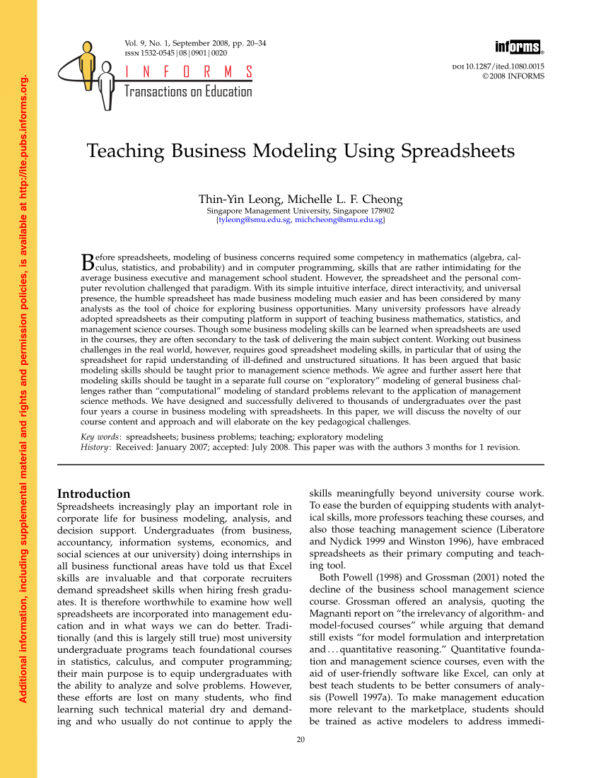 Management Science The Art Of Modeling With Spreadsheets Pdf With Regard To Pdf Teaching Business Modeling Using Spreadsheets