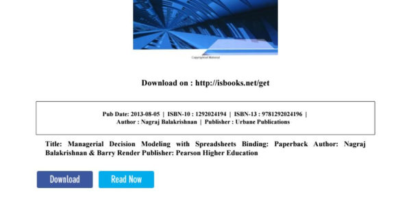 Managerial Decision Modeling With Spreadsheets 2Nd Edition Pdf Pertaining To Managerial Decision Modeling With Spreadsheets Pearson New