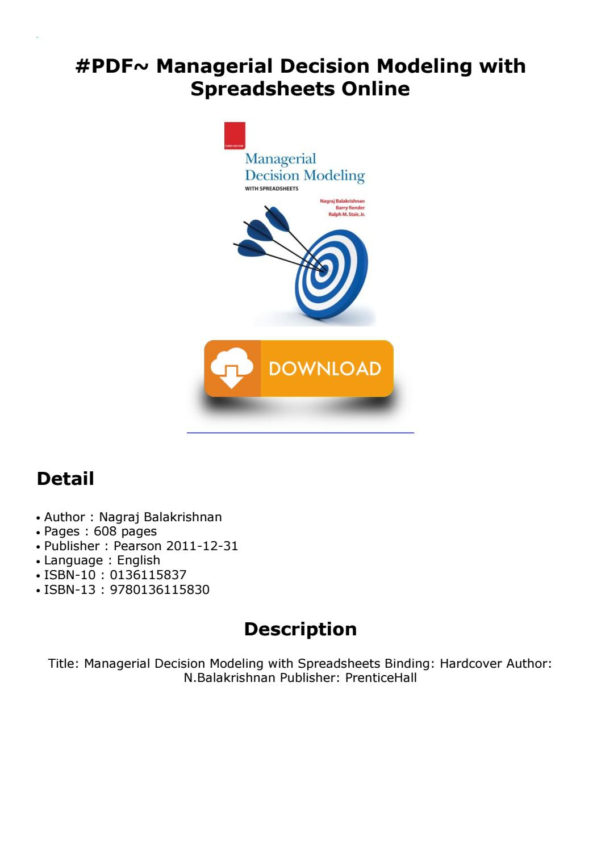 Managerial Decision Modeling With Spreadsheets 2Nd Edition Pdf Pertaining To Pdf~ Managerial Decision Modeling With Spreadsheets Online