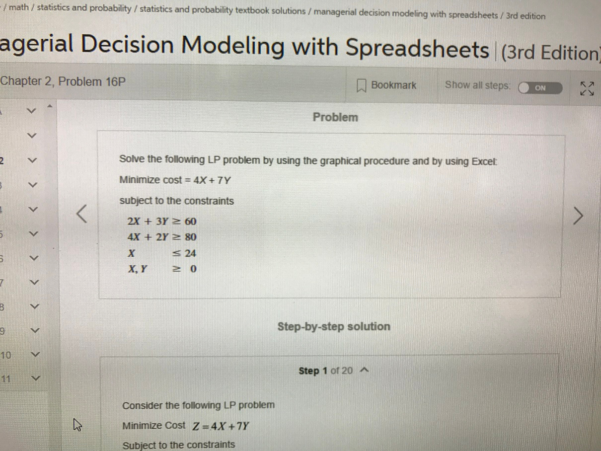 Managerial Decision Modeling With Spreadsheets 3Rd Edition In Solved: Math Statistics And Probability Statistics Probabi