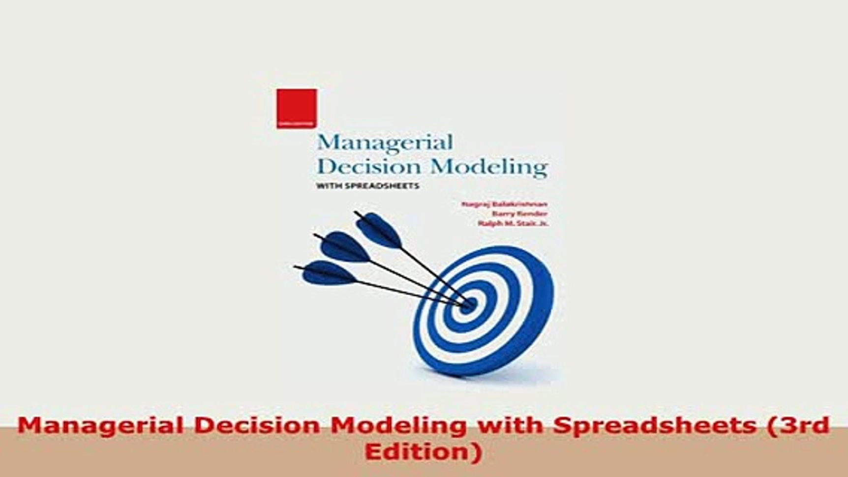 Managerial Decision Modeling With Spreadsheets 3Rd Edition Pdf Download With Pdf Managerial Decision Modeling With Spreadsheets 3Rd Edition Pdf