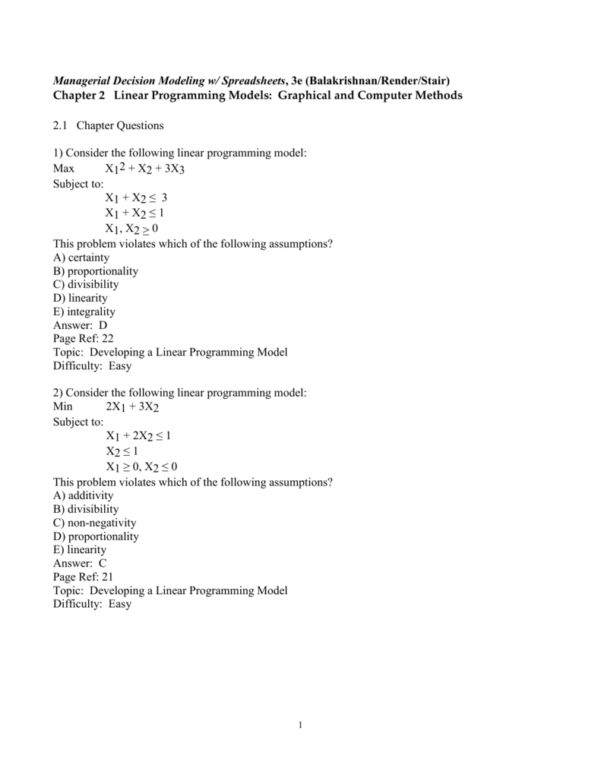 Managerial Decision Modeling With Spreadsheets Answer Key Inside Managerial Decision Modeling W/ Spreadsheets, 3E Balakrishnan