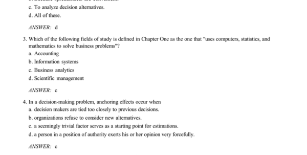 Managerial Decision Modeling With Spreadsheets Answer Key Pertaining To Answer: C